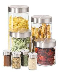 glass kitchen canisters amazon com oggi 8 airtight glass canister and spice