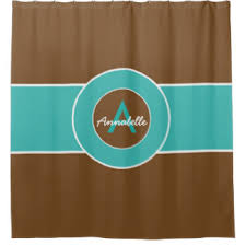 Green And Brown Shower Curtains Brown And Turquoise Shower Curtains Zazzle
