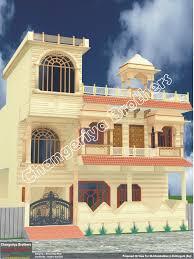 Rajasthani Stayle Dhopur Design Elevation 3D Naksha