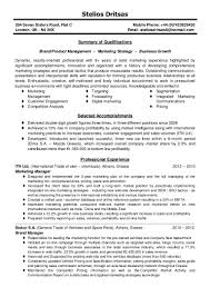 Resume Format For Sales And Marketing Manager Cv Brand Product Marketing Manager Stelios Dritsas