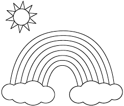coloring page rainbow rainbow with clouds and sun coloring page