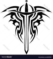 tribal tattoo with medieval sword royalty free vector image