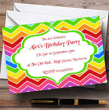 personalised halloween party invitations bright rainbow colours theme personalised birthday party