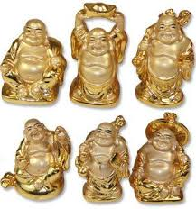 of 6 gold small buddha statues