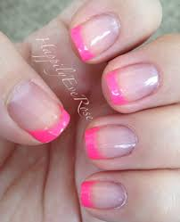 neon pink tips u2013 summer french manicure pink toe nails pink