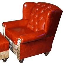 red leather tufted oversized wingback chair