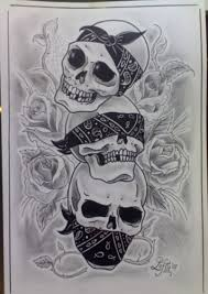hear no see no speak no evil skulls with bandana tattoos