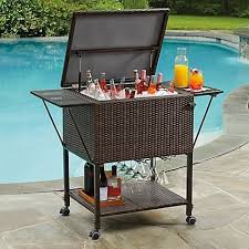 insulated cooler cart wicker 85 qt outdoor patio pool beverage