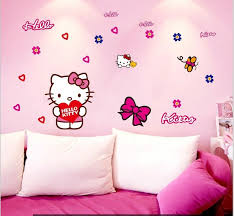 zy7131 popular cute pink kitty car sticker wall mural