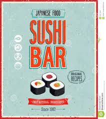 affiche cuisine vintage affiche de bar à sushis de vintage illustration de vecteur