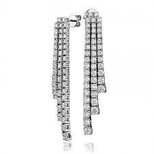 drop diamond earrings diamond 3 strand drop earrings 5 42ct set in solid 18k white gold