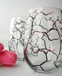 pink cherry blossom wine glasses set of 2 hand painted