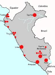 south america dot map hotel accommodation in peru south america