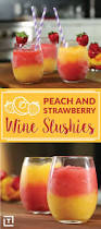 3 ingredient strawberry peach wine slushies are perfect for summer