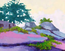 a lovely african landscape paintings of rocks exploring poster