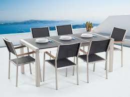 6 Chair Patio Dining Set - outdoor dining set for 6 granite top and black chairs grosseto
