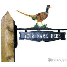 whitehall two sided one line post sign with pheasant ornament