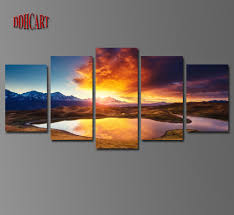 paintings for home decor 5 piece colorful clouds mountains lake landscape canvas painting