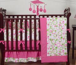 modern pink and green polka dot baby room 9pc crib bedding set for