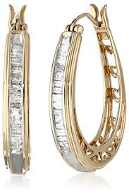 gold diamond hoop earrings 10k yellow gold diamond hoop earrings 1 2 cttw jewelry