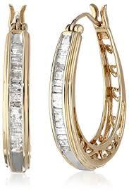 10k earrings 10k yellow gold diamond hoop earrings 1 2 cttw jewelry