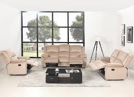 3 Recliner Sofa 3 Pc Microfiber Recliner Sofa Set Living Room Room Beige