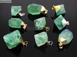 natural gemstone necklace images Natural green fluorite gemstone oval octagonal pendant charm beads jpg