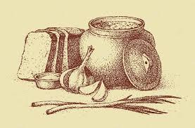 vector sketch ukrainian lunch warm soup bread garlic onion