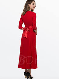 plain 3 4 sleeve buttons decorated women u0027s maxi dress tbdress com