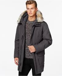 calvin klein big tall faux fur hooded jacket in gray for men lyst