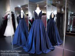 aliexpress com buy navy blue satin ball gown long prom dresses