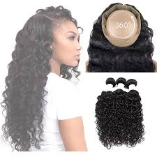 saphire black hair 360 lace frontal beach wave 3 bundles 1b sapphire virgin hair