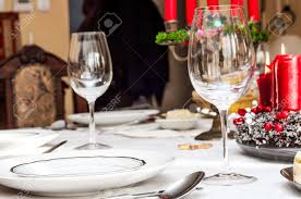Holiday Table Settings by Holiday Table Setting With Blurry Background Stock Photo Picture