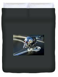 skull rat rod ornament duvet cover for sale by reger