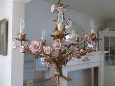 porcelain chandelier roses italian tole chandelier painted pink roses regency shabby