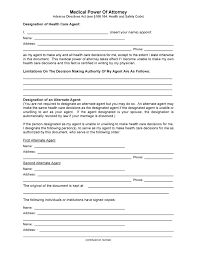 How To Write A Power Of Attorney by Free Medical Power Of Attorney Forms Pdf Template Form Download