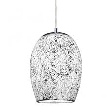 Mosaic Pendant Lighting by Searchlight 8069wh Crackle 1 Light Polished Chrome Ceiling