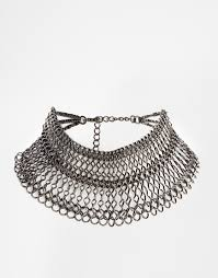 statement chain necklace images Lyst asos statement chain choker necklace in gray jpeg