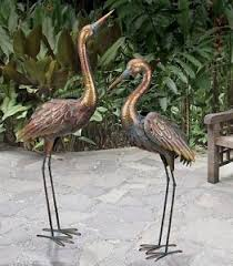 copper patina crane pair metal garden statues bird sculpture heron
