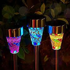 solar led stake lights amazon com outdoor solar garden lights 3 pack mosaic solar