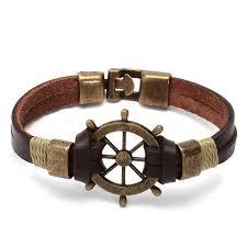 leather bracelet designs images Metal ship wheel designer brown leather bracelet chkokko jpg