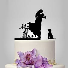 cake topper with dog wedding cake topper with pet silhouette dog mr and mrs