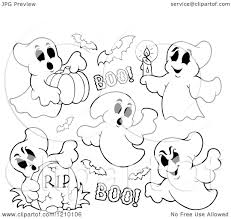cartoon of black and white halloween ghosts and bats royalty