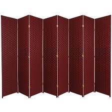 7 ft red black 8 panel room divider ss7fiberrblk8p the home depot