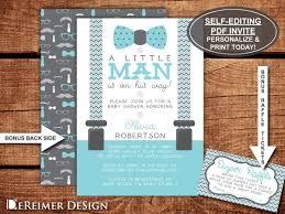 little man baby shower invitation bow tie aqua baby blue