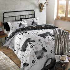 christmas quilt duvet cover bedding set reindeer stag xmas black