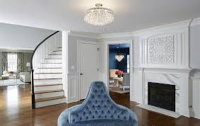 semi flush mount foyer light polished brass entry bench with wainscoting transitional