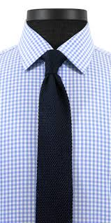 light blue gingham broadcloth custom dress shirt black lapel