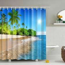 3d beach shower curtain blue polyester waterproof