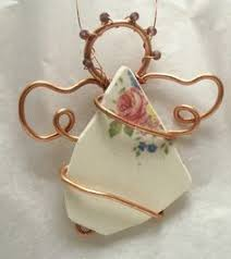 repurposed ornament made from broken china recycled